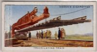 Railroad Track Laying Train 1930s Ad Trade  Card