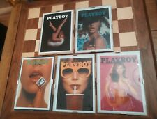 5 x Framed Official Licensed Blank Playboy Greetings Cards Beaumonde Circa 2003