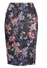 Floral Pencil Print Skirt 22 Blue/Multi