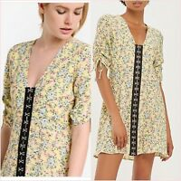 Topshop PETITE Yellow Floral Skater Tea Sun Dress Size 4 12 US 0 10 Blogger ❤