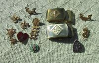 Lot of 13 VINTAGE  BOY SCOUT UNIFORM PIN BE PREPARED & ENAMELED HEARTS