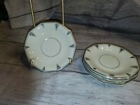 COMMUNITY Bavaria china Deauville cream Art Deco pattern Saucer Plate . Set of 5