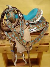 "10"" MED O BLUE BLING FILIGREE Barrel Racer Western Trail Youth PONY Saddle 4Pk"