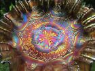 Fenton DRAGON & LOTUS ANTIQUE CARNIVAL GLASS 3/1 EDGE BOWL~AMETHYST~SUPER PRETTY