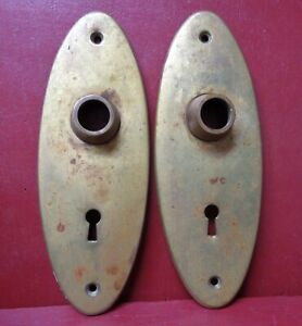 2 ANTIQUE HEAVY CAST BRASS Y&T YALE DOORKNOB PACK PLATES #1B11202