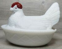 VTG Large Westmoreland Milk Glass Hen on Nest Dish Painted Red Head w/Lid Weaved