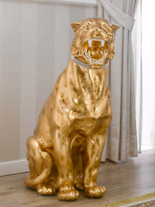 Wilder Tiger Rashida Dekofigur Skulptur aus Keramik crackle Blattgold mit elfenb