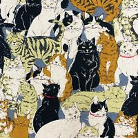 Cats fabric, animal print cotton linen, Japanese material, black beige