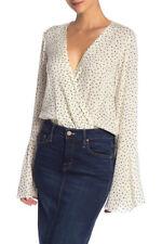 Free People Womens Makin Waves OB809899 Bodysuit Ivory Combo White Size XS