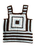Blue Brown White Vintage1970 Handmade Crochet Knit Sleeveless Tank Vest Top16-18