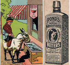 Ponds Bitters Kidney & Liver Cure Saloon Bottle Victorian Advertising Trade Card