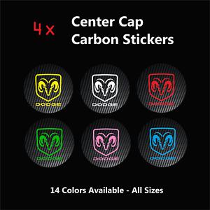 4x DODGE Badge Logo Carbon Center Caps Alloy Rim Wheel Hub Stickers Viper Ram