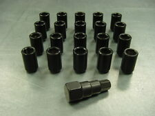 12x1.5 Steel Lug Nuts 20 Piece Set Lock Key Black Tuner Lugs Conical Open End 2K