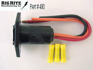 RIG RITE MALE 3-WIRE MOTOR RECEPTACLE # 490 10 GAUGE 12/24V Open Package