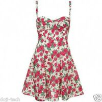 Topshop Floral Liberty Print Fabric Rose Corset 50s Vtg Summer Sun Dress 8 36 4