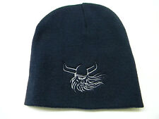Nordic Norwegian Swedish Danish Viking Scull Embroidered Knit Beanie Hat #KH34