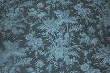 Fabric #2261, Large Blue Floral & Foliage on Navy, Blank, Sold by 1/2 Yard