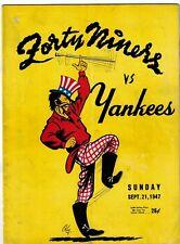 1947 New York Yankees Football Program vs. San Francisco 49ers EX