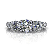 0.87 Ct Round Cut Diamond Engagement Solitaire Ring 14K White Gold Size 5 6 8
