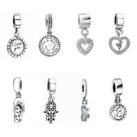 LOVE Dangle 925 Silver Pendant Charms Bead For Sterling Bracelets Necklace Chain