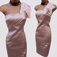 KAREN MILLEN Champagne Satin Folded One Shoulder Cocktail Wiggle Dress 12UK/40EU