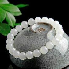 Beads Stretchy Bracelet 7.5'' Aaa+ Natural 8mm White Jade Round Gemstone