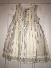 NWT A.T.U.N White Metallic Striped Dress Size 3-4y