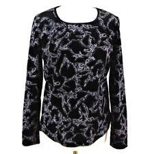 Women Devore Floral Long Sleeve Glitter Top UK 12 Black Formal Party Occasion