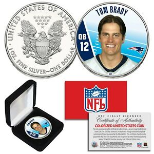 TOM BRADY QB #12 Patriots NFL Background 1 oz PURE SILVER AMERICAN EAGLE in Box