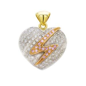 14kt Yellow White Rose Gold White Sapphire Heart Pendant 12.5 Grams