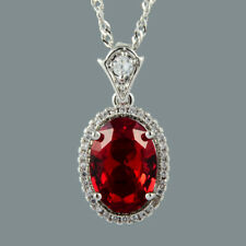 Cubic Zirconia 18K White Gold Plated Oval Cut Red Ruby Pendant Free Chain