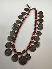 Antique Morroccan Berber Silver Coin Bride Headdress Coral Necklace