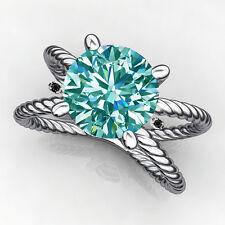 1.80 ct VS1/ BLUE REAL ROUND MOISSANITE & NATURAL BLACK DIAMOND SILVER RING