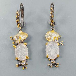Fine art Design Rose Quartz Earrings Silver 925 Sterling   /E54232