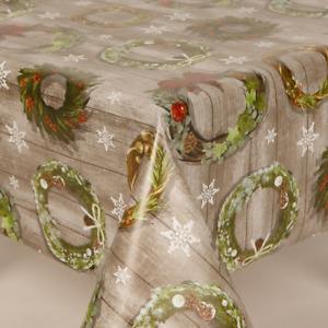 CHRISTMAS WREATH BERRIES HOLLY STARS WOOD EFFECT PVC PLASTIC VINYL TABLE CLOTH