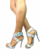 Aldo Womens Shoes Sandals Size 6 Silver High Heels Ankle Strap Strappy Party VGC