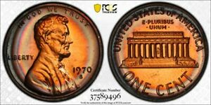 1970-S LINCOLN MEMORIAL LARGE DATE PCGS PR66RB HIGH GRADE PROOF RAINBOW RING