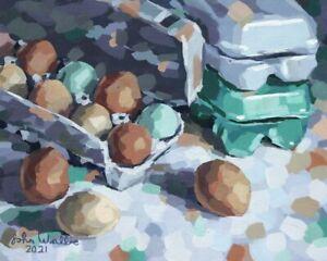 "Original Still Life Painting ""Egg Cartons"" - 8 x 10 inch by John Wallie"