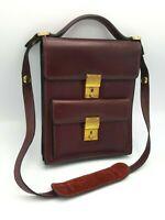 Vintage Gucci Purse Handbag Mahogany Leather & 2Way Lady Lock and Key 1970's