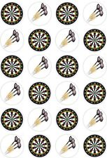 24 Darts Dart Board Cupcake Fairy Cake Toppers Edible Rice Wafer Paper