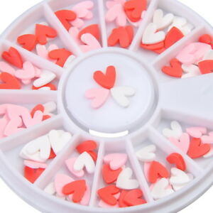 Valentines Day 3D Nail Art Decoration Pink Red White Fimo Slice Hearts Craft
