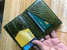 Green Credit Card Holder Wallet DOUBLE SIDE Crocodile, Genuine Alligator Leather