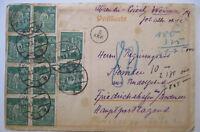 D.Reich, 40 Mark MEF zehnmal auf Karte aus Weimar 1923 (51313)