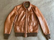 Schott NYC A-2 leather bomber jacket 574 - brown waxed pebbled cowhide - SMALL