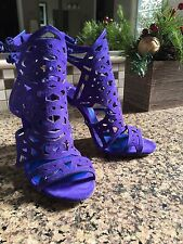 B BRIAN ATWOOD Purple Suede Womens Designer Strappy Sandals 6 Heels Booties Blue