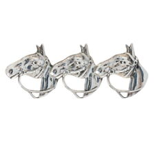 Sterling Silver Horse Bust Trio Brooch - 925 Equestrian Pin