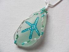 "Verde azulado estrella de mar Mar de Cristal pintada a mano & Miyuki Collar - 18"" cadena de Placa de Plata"