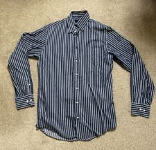 M&S Mens Casual Formal Blue White Shirts Stripes Long sleeve Size S chest 37/38