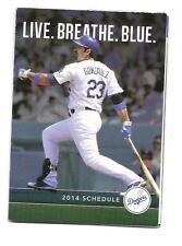 Los Angeles Dodgers MLB Mini Pocket Schedule 2014 Adrian Gonzalez