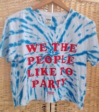 PINK Victorias Secret We The People Like To Party Tie Dye Blue White Top XS